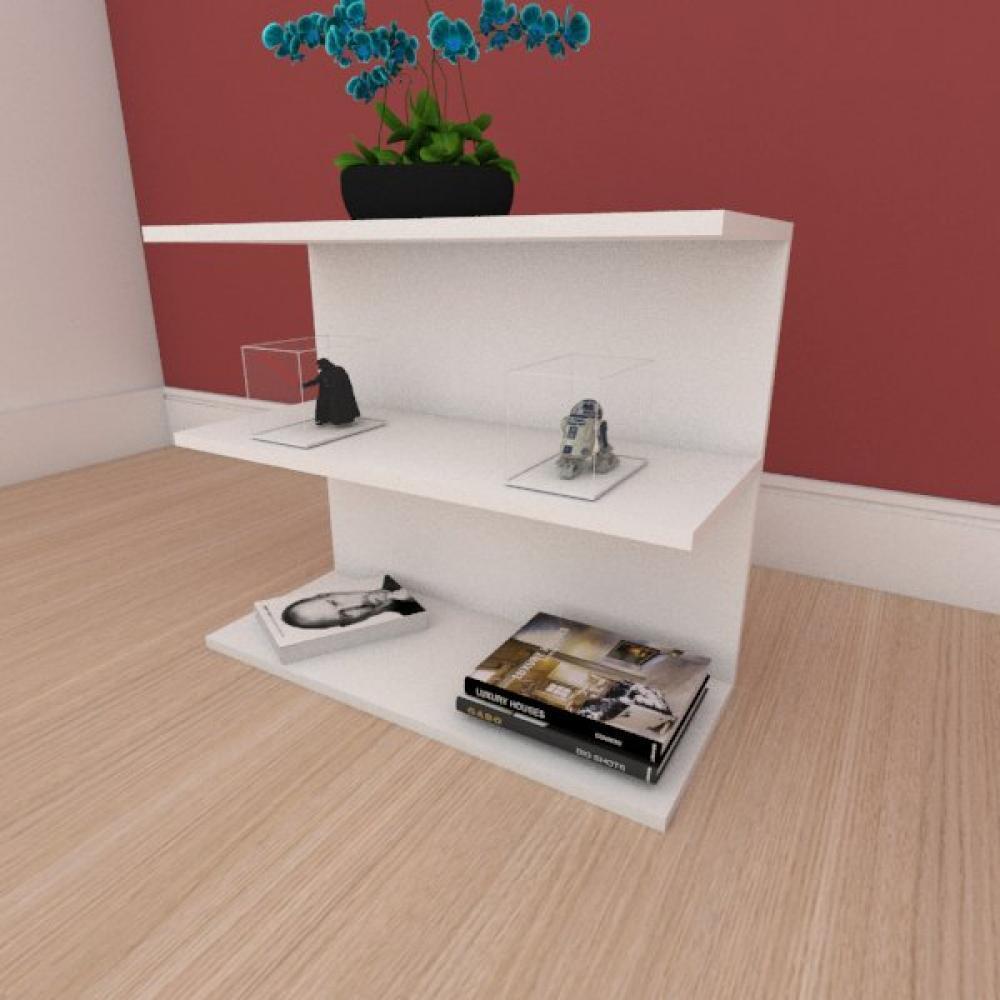 Mesa de cabeceira minimalista moderna em mdf branco