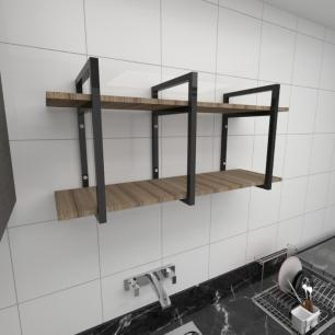 Prateleira industrial cozinha aço cor preto prateleiras 30cm cor amadeirado escuro mod ind20aec