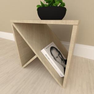 Mesa lateral sofá design mesa de canto, em mdf Amadeirado claro