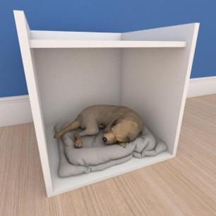 Mesa de cabeceira caminha casinha pequeno cachorro em mdf branco