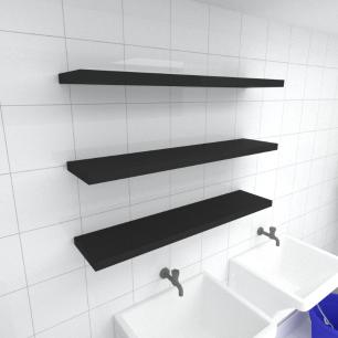 Kit 3 prateleiras para lavanderia em MDF suporte Inivisivel preto 90x20cm modelo pratlvp27