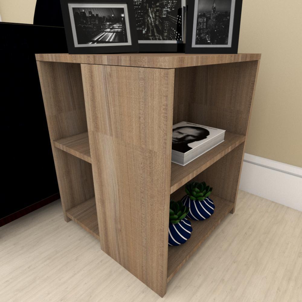 Mesa de cabeceira para sofá moderna amadeirado escuro