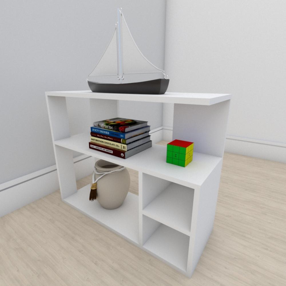 Estante escritório formato slim em mdf Branco