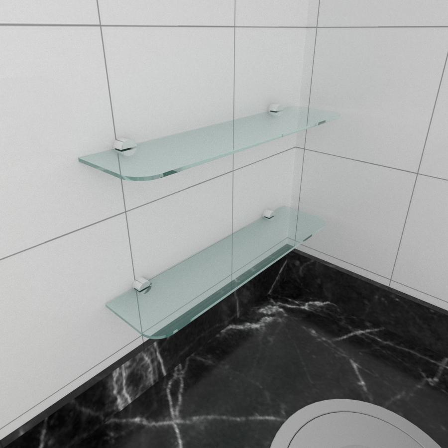 kit com 2 Prateleira de vidro temperado para cozinha 40(C)x8(P)cm