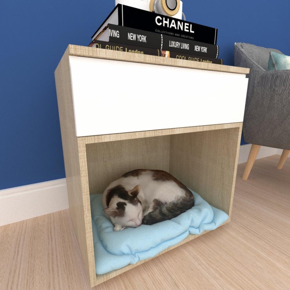 caminha criado gato gaveta mdf Amadeirado claro branco