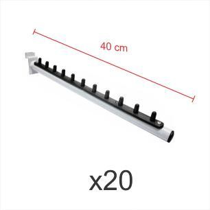 kit para expositor com 20 ganchos rt para roupas branco de 40 cm para painel canaletado