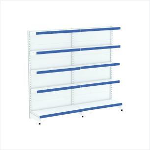 kit com 2 gondola de parede 1 inicial 1 cont 1,70x92 40/30 flex 40 amapa, porta etiquetas azul