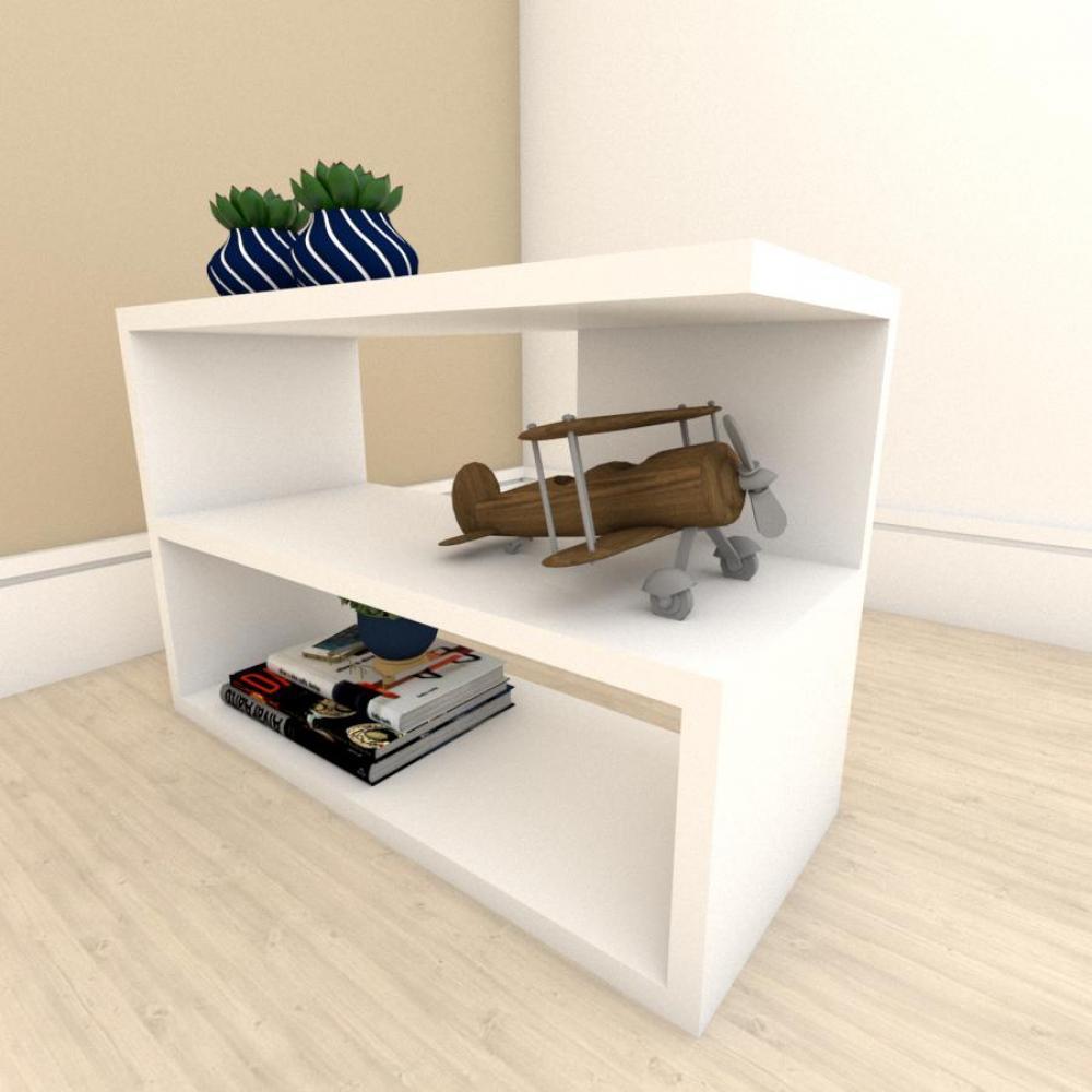 kit com 2 Mesa de cabeceira slim em mdf Branco