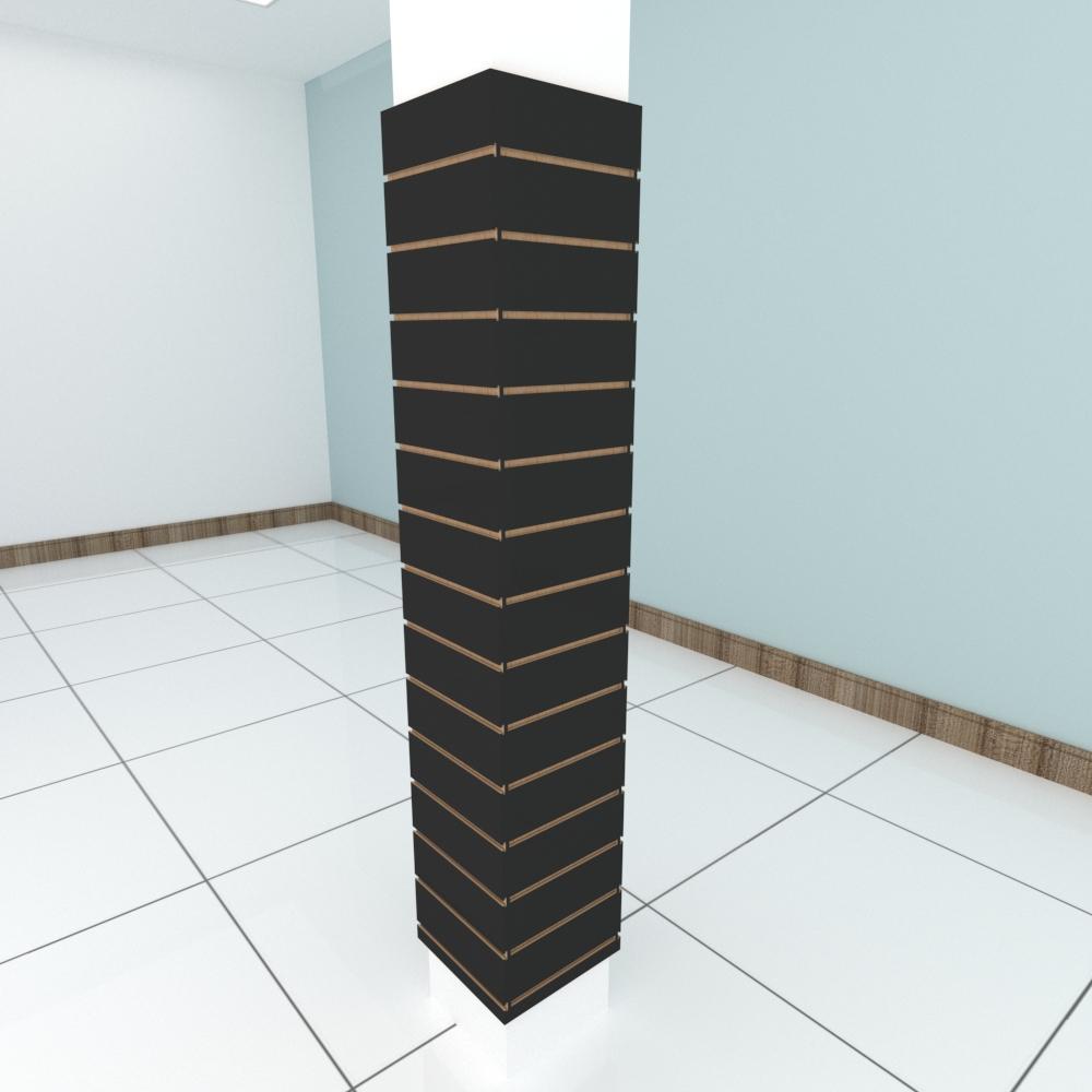 Kit 4 Painel canaletado para pilar preto 2 peças 34(L)x180(A)cm + 2 peças 30(L)x180(A)cm