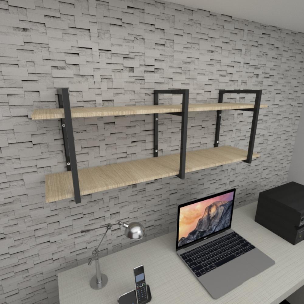 Prateleira industrial para escritório aço cor preto mdf 30 cm cor amadeirado claro modelo ind05aces