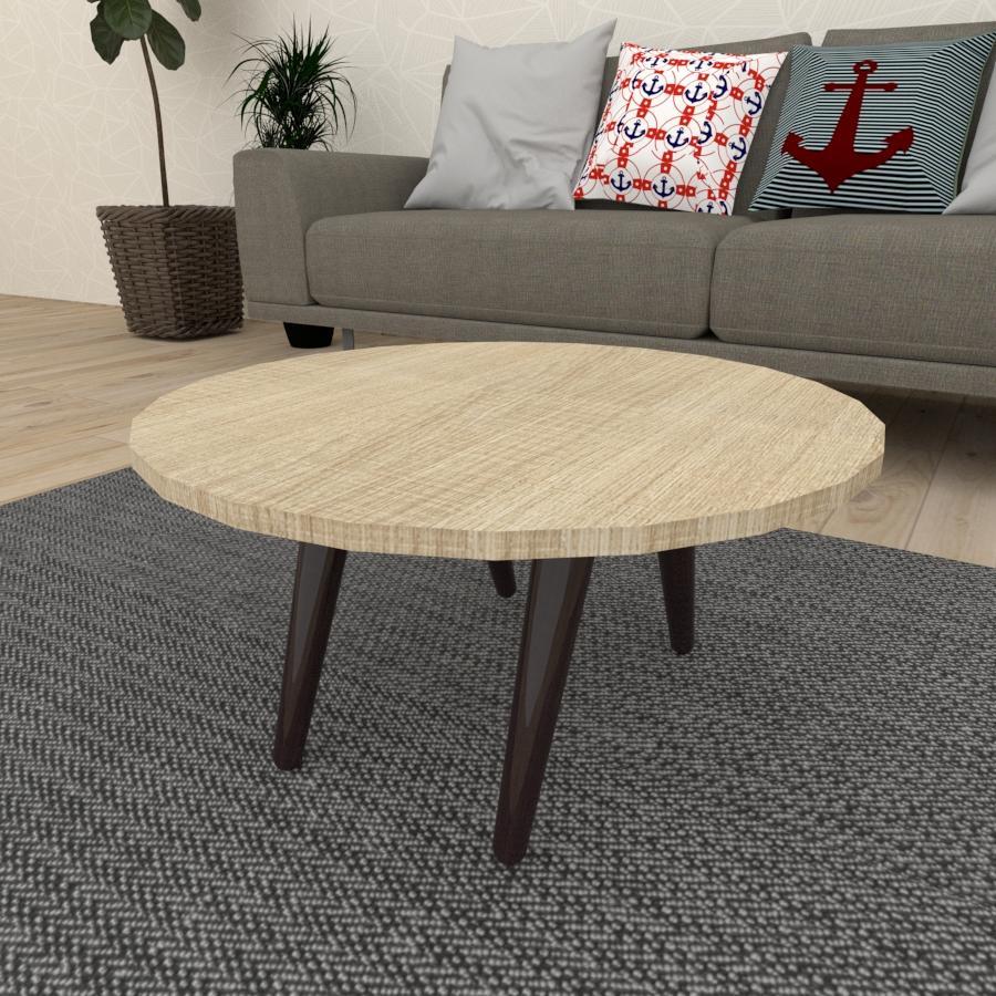 Mesa de Centro redonda em mdf amadeirado claro com 4 pés inclinados em madeira maciça cor tabaco