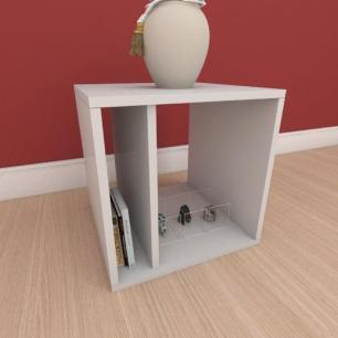 Mesa Lateral moderna com prateleiras em mdf cinza