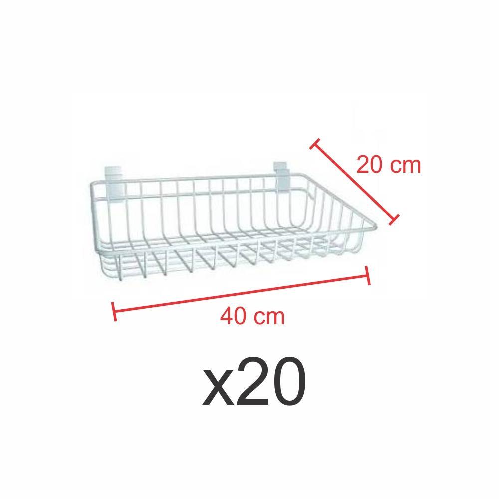 Pacote com 20 Cestos para painel canaletado 20x40 cm branco