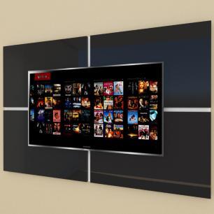 Painel Tv pequeno moderno preto com branco