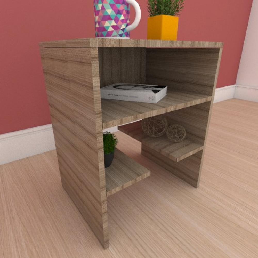Kit com 2 Mesa de cabeceira com prateleiras em mdf amadeirado