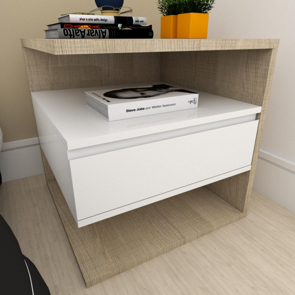 Mesa de cabeceira moderna branco com amadeirado claro