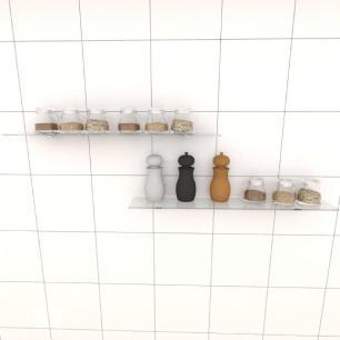 Kit com duas Prateleira para cozinha 60 cm vidro temperado
