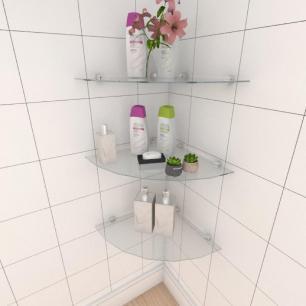 Kit com tres Prateleira para banheiro de canto 40 cm vidro temperado