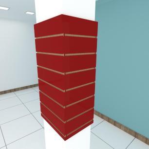 Kit 4 Painel canaletado para pilar vermelho escuro 2 peças 44(L)x90(A)cm + 2 peças 30(L)x90(A)cm
