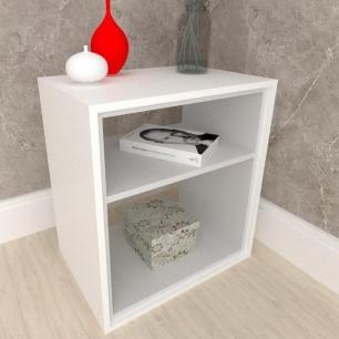 Criado mudo, mesa de cabeceira, em mdf branco com cinza