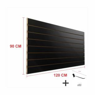 Expositor canaletado preto alt 90 cm comp 120 cm mais 50 ganchos 10 cm