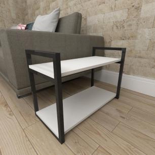 Mesa lateral sofá industrial aço cor preto prateleiras 30 cm cor branca modelo ind01bml