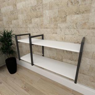 Mini estante industrial para escritório aço cor preto prateleiras 30cm cor branca modelo ind19bep