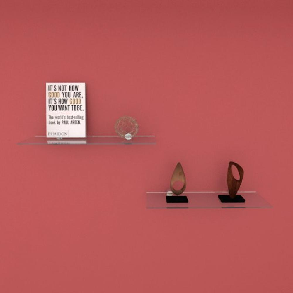 Kit com duas Prateleira para escritório 40 cm vidro temperado