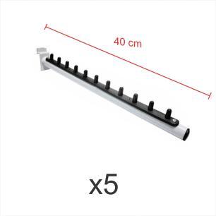 kit para expositor com 5 ganchos rt para roupas branco de 40 cm para painel canaletado