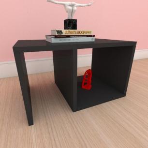 Mesa de cabeceira moderna compacta com nichos em mdf preto