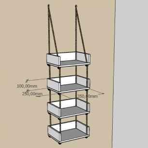 Quatro prateleiras moderna com cordas, mdf Amadeirado claro