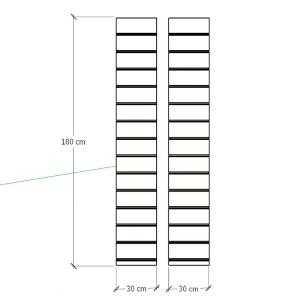 Kit 2 Painel canaletado para pilar cinza cristal 2 peças 30(L)x180(A)cm