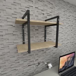 Prateleira industrial para escritório aço cor preto mdf 30 cm cor amadeirado claro modelo ind02aces
