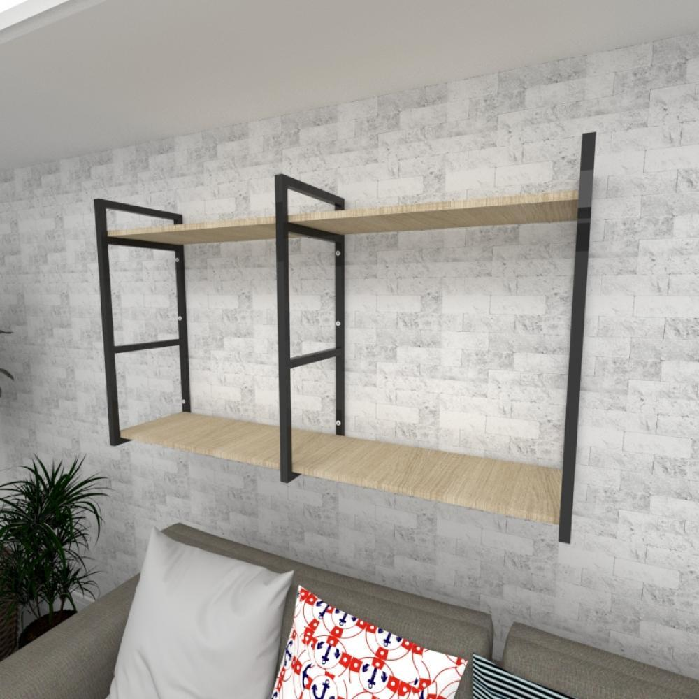 Prateleira industrial para Sala aço preto prateleiras 30 cm cor amadeirado claro modelo ind13acsl