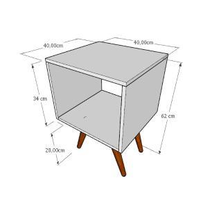 Mesa de Cabeceira nicho em mdf amadeirado escuro com 4 pés inclinados em madeira maciça cor tabaco