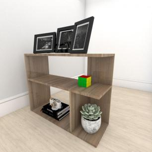kit com 2 Mesa de cabeceira formato simples em mdf Amadeirado