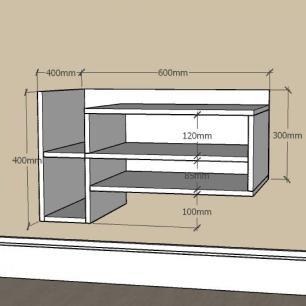 Estante escritório simples com nichos em mdf Cinza