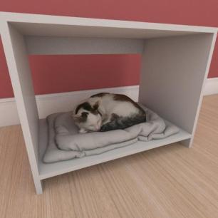 Mesa de cabeceira caminha compacta pequeno gato em mdf branco