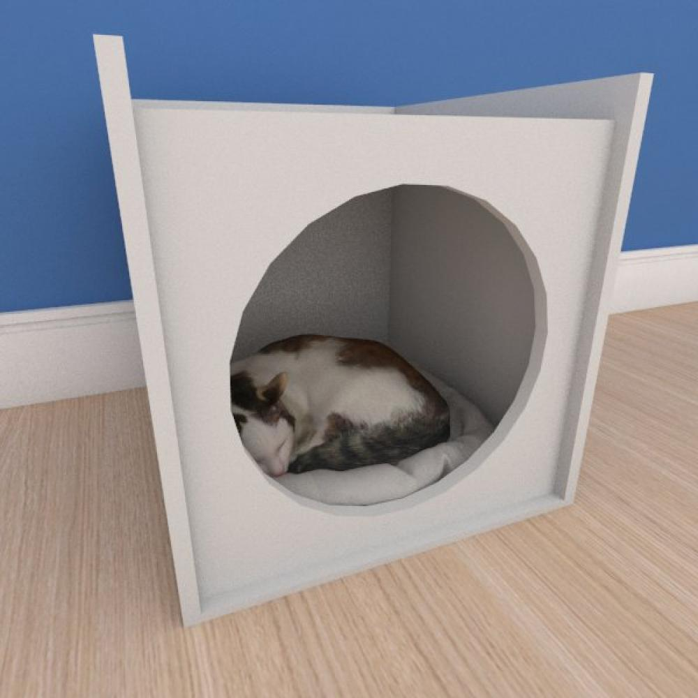 Caminha minimalista pequeno gato em mdf cinza
