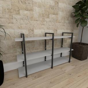 Mini estante industrial para escritório aço cor preto prateleiras 30cm cor cinza modelo ind12cep