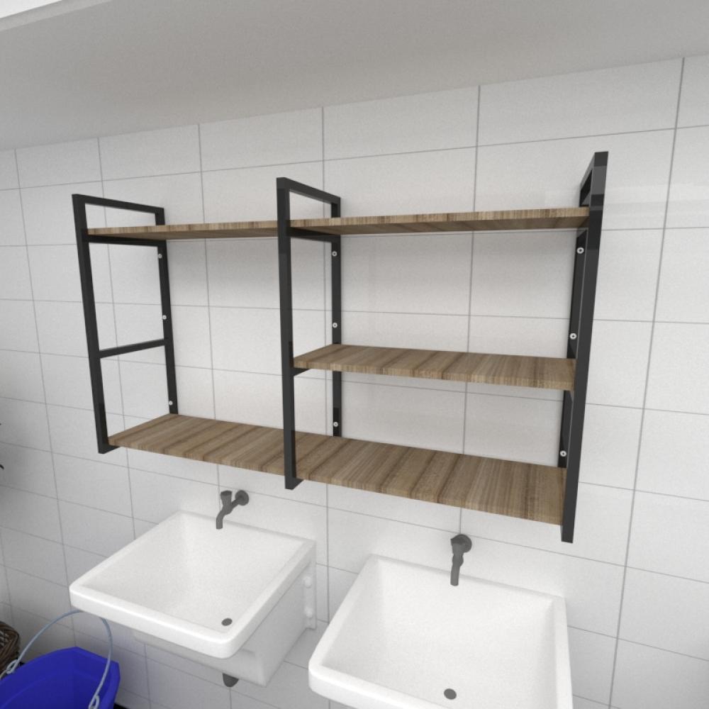 Prateleira industrial para lavanderia aço cor preto mdf 30cm cor amadeirado escuro modelo ind14aelav