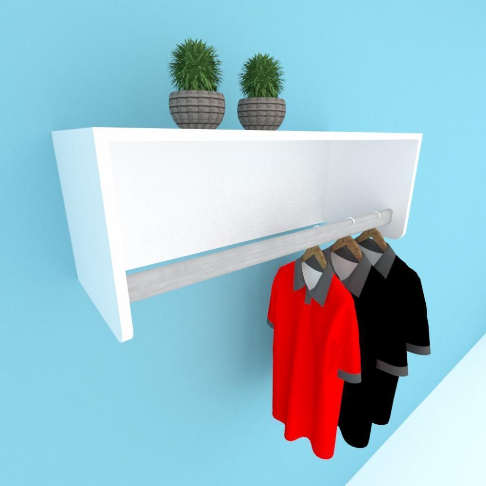 Kit com 2 Prateleira cabide para closet, mdf Branco