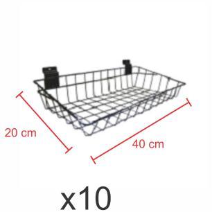 kit para expositor com 10 Cestos para painel canaletado 20x40 cm preto
