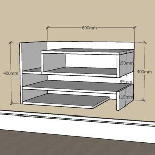 Aparador pequeno com nichos prateleiras em mdf Amadeirado