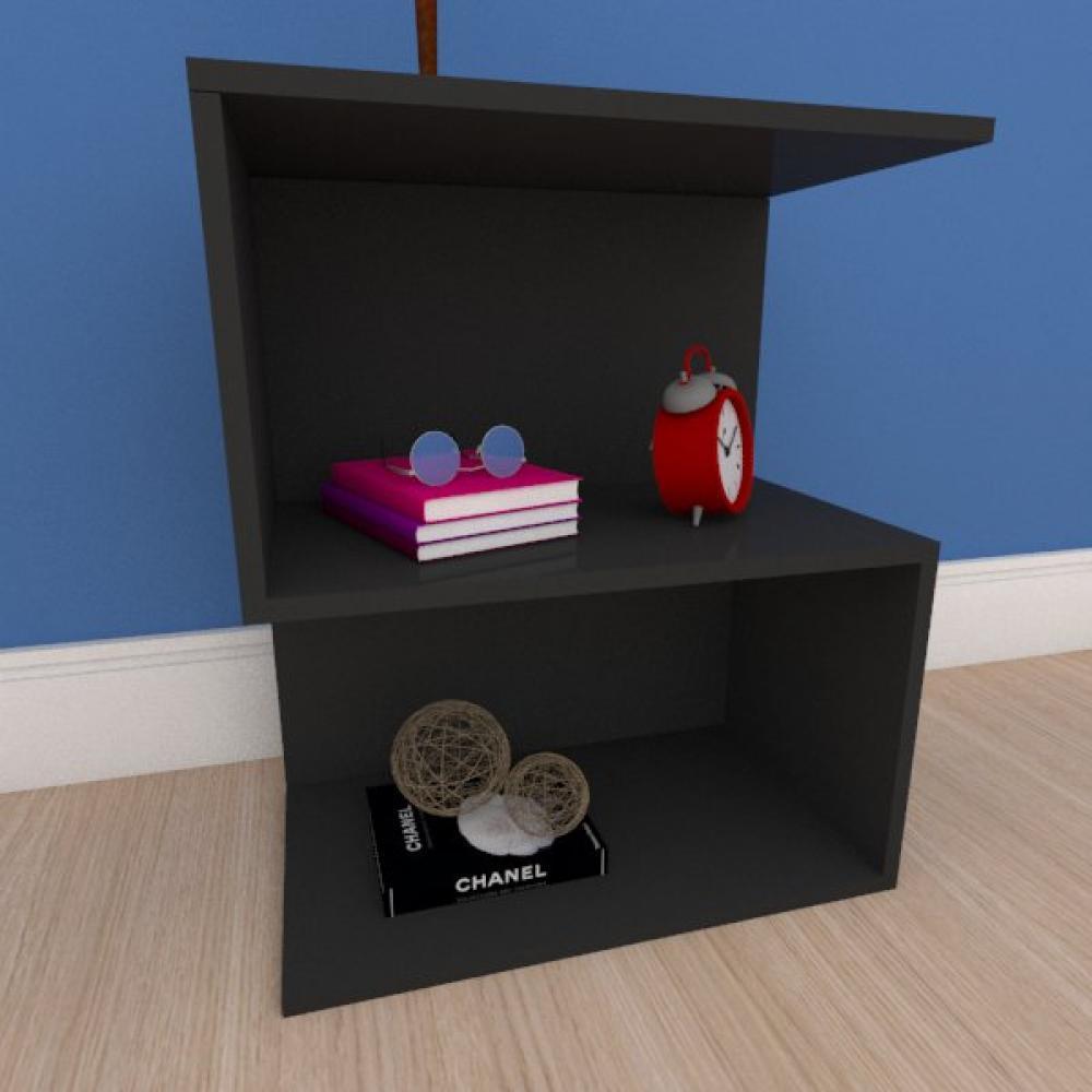 Kit com 2 Mesa de cabeceira compacta em formato de S em mdf preto