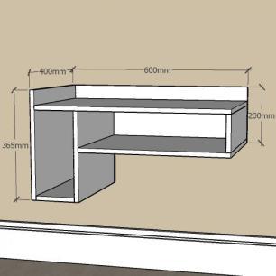 Estante escritório pequeno com nichos em mdf Preto