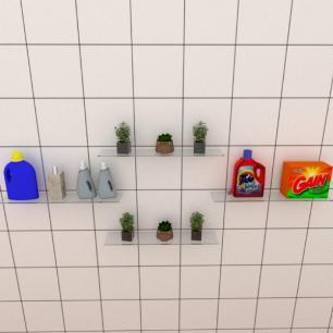 Kit com quatro Prateleira para lavanderia 50 cm vidro temperado