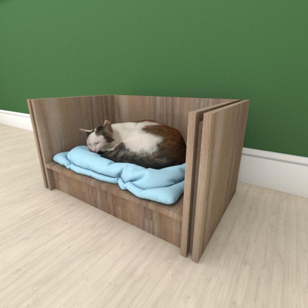 Mesa de cabeceira camapet para Gato em mdf Amadeirado