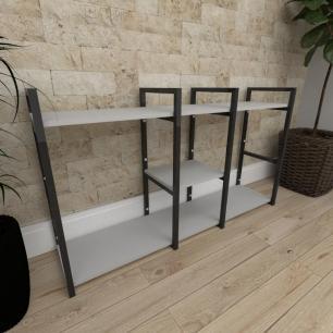 Mini estante industrial para escritório aço cor preto prateleiras 30cm cor cinza modelo ind18cep