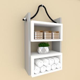 nicho prateleira moderna com cordas, mdf cinza com branco
